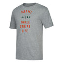 Miami Hurricanes adidas Three Stripe Lifestyle Tri-Blend T-Shirt - Heather Grey