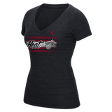 Miami Heat Adidas Women's Woodgrain Stripe V-Neck T-Shirt - CanesWear at Miami FanWear Women's T-Shirt Adidas Group CanesWear at Miami FanWear