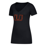 Miami Hurricanes adidas 2018 Women's U All Around Tri-Blend V-Neck T-Shirt - Black