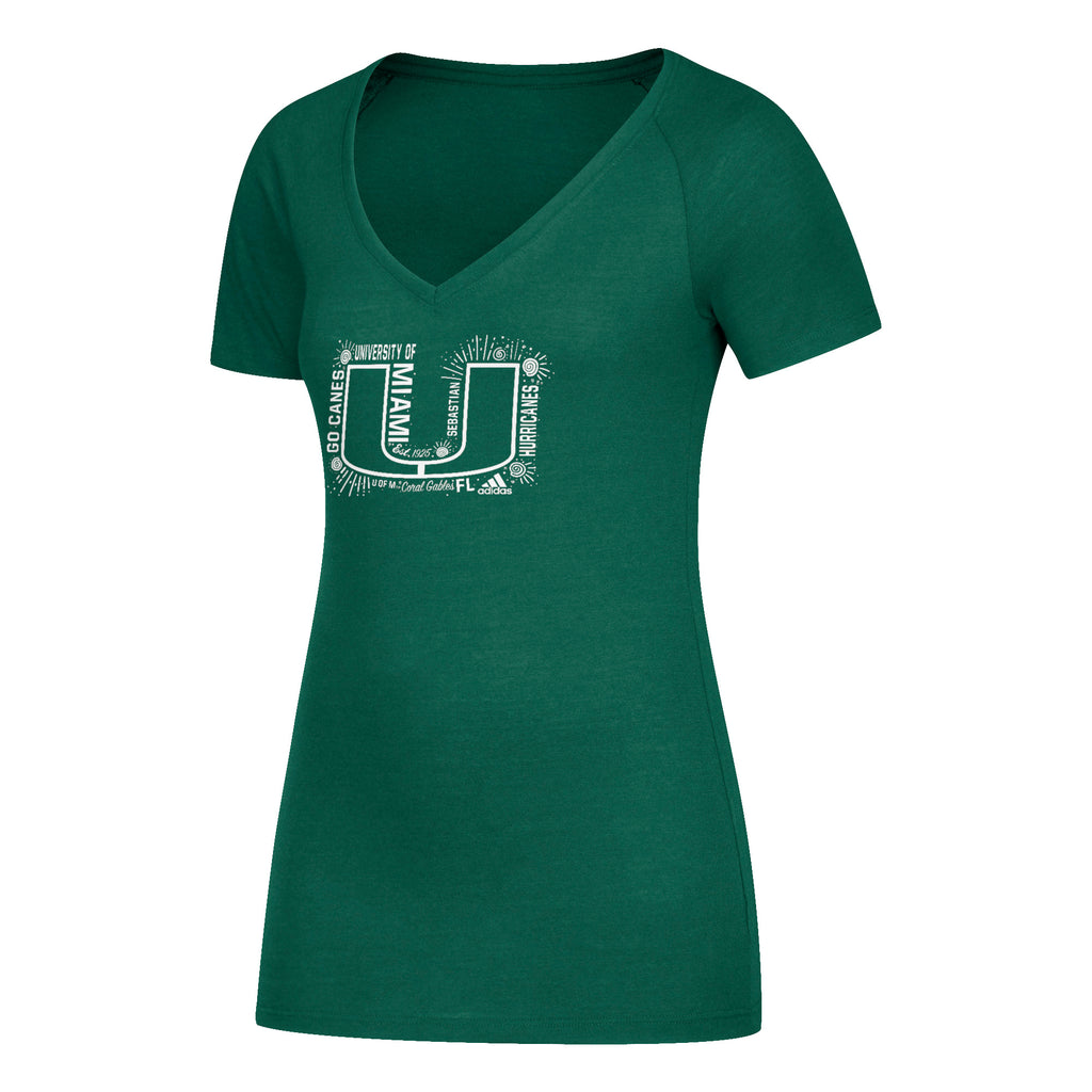 Miami Hurricanes adidas Women's U All Around Tri-Blend V-Neck T-Shirt - Green