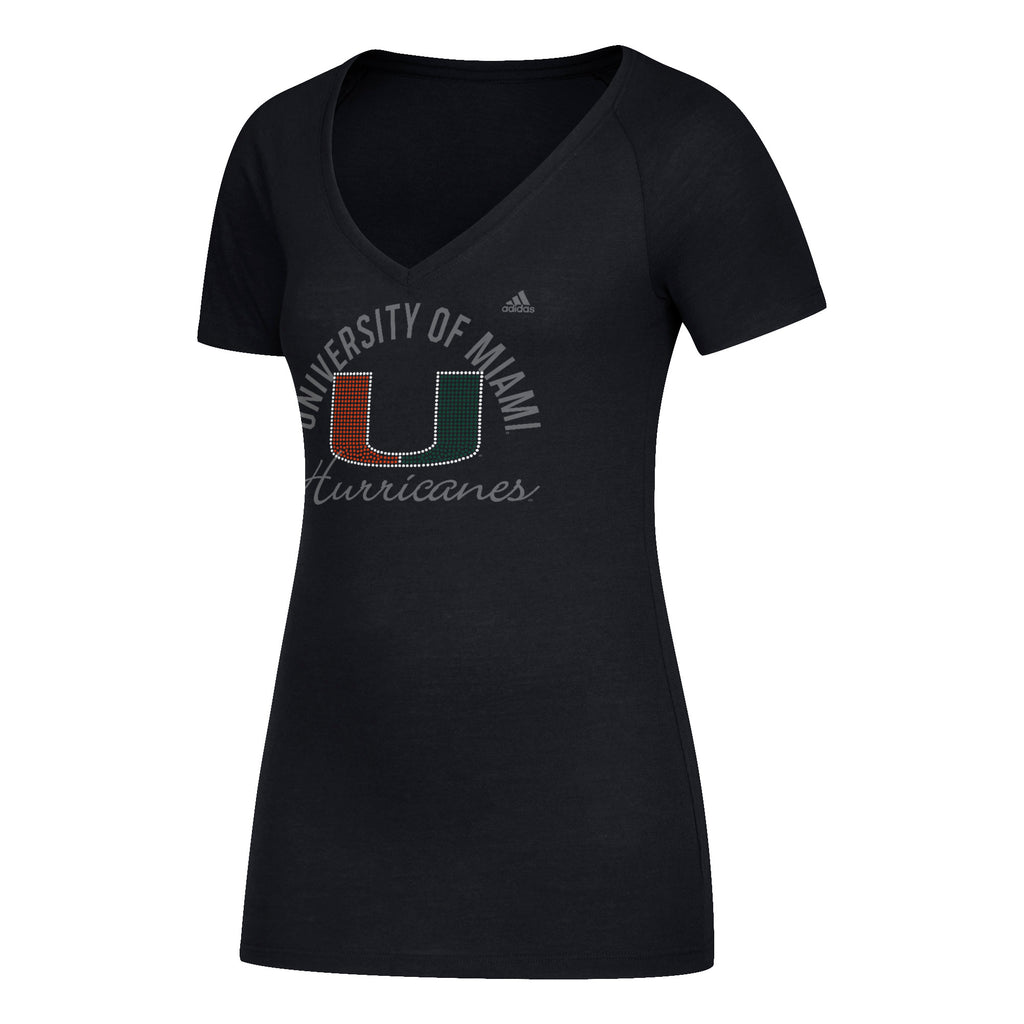 Miami Hurricanes adidas Women's Subtle Shine Tri-Blend Cap Sleeve V-Neck T-Shirt - Black