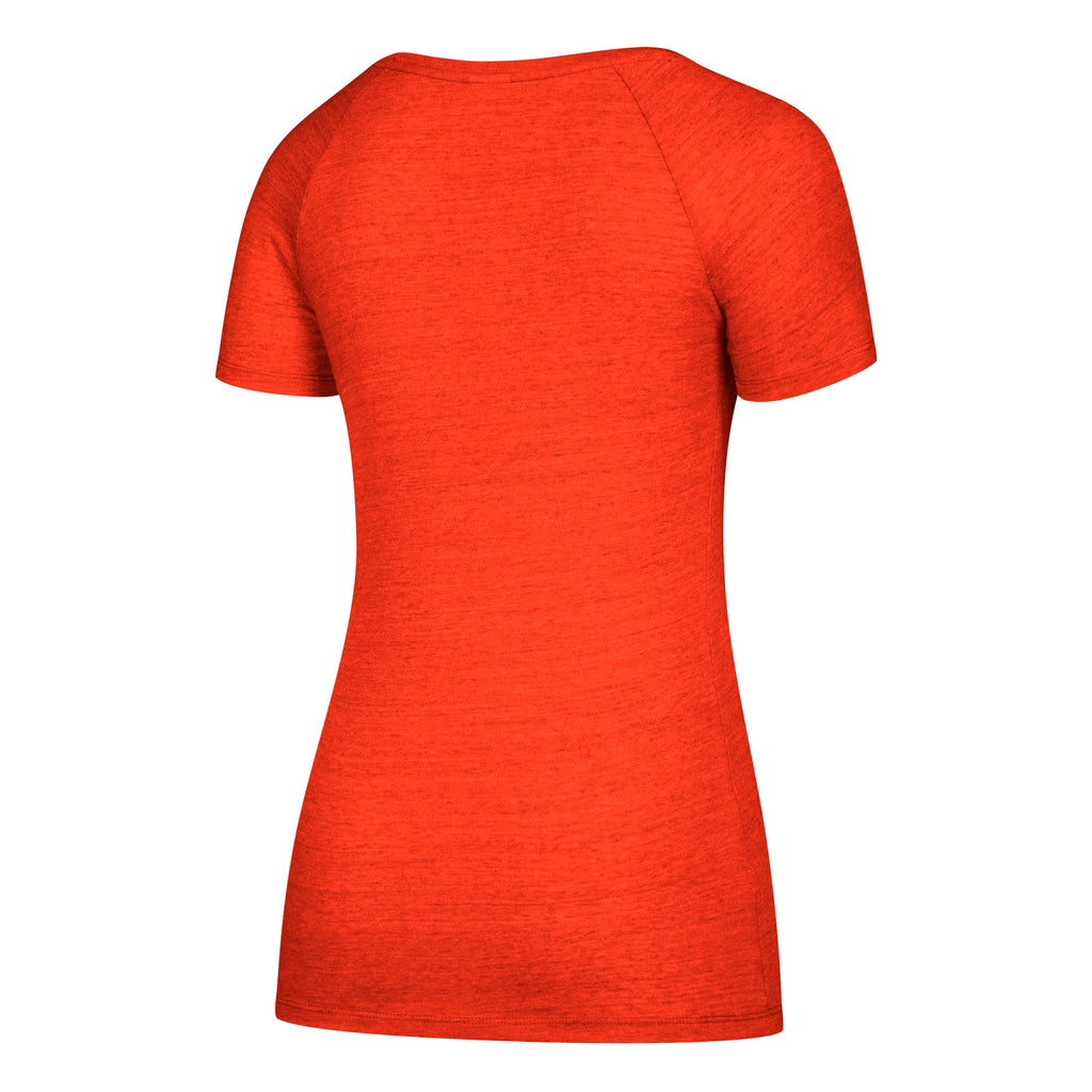 Miami Hurricanes adidas Women's Subtle Shine Tri-Blend Cap Sleeve V-Neck T-Shirt - Orange