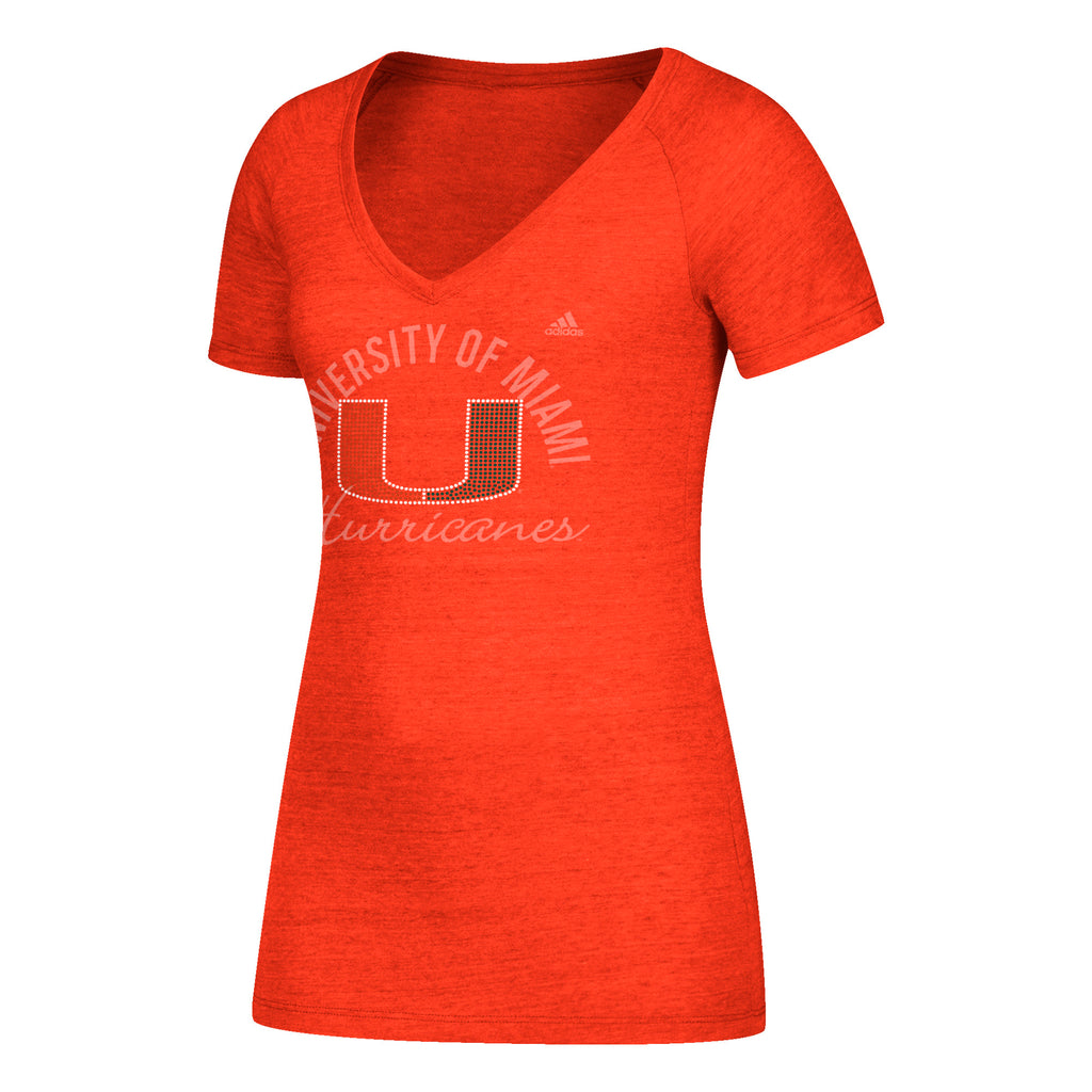 Miami Hurricanes adidas 2018 Women's Subtle Shine Tri-Blend Cap Sleeve V-Neck T-Shirt - Orange
