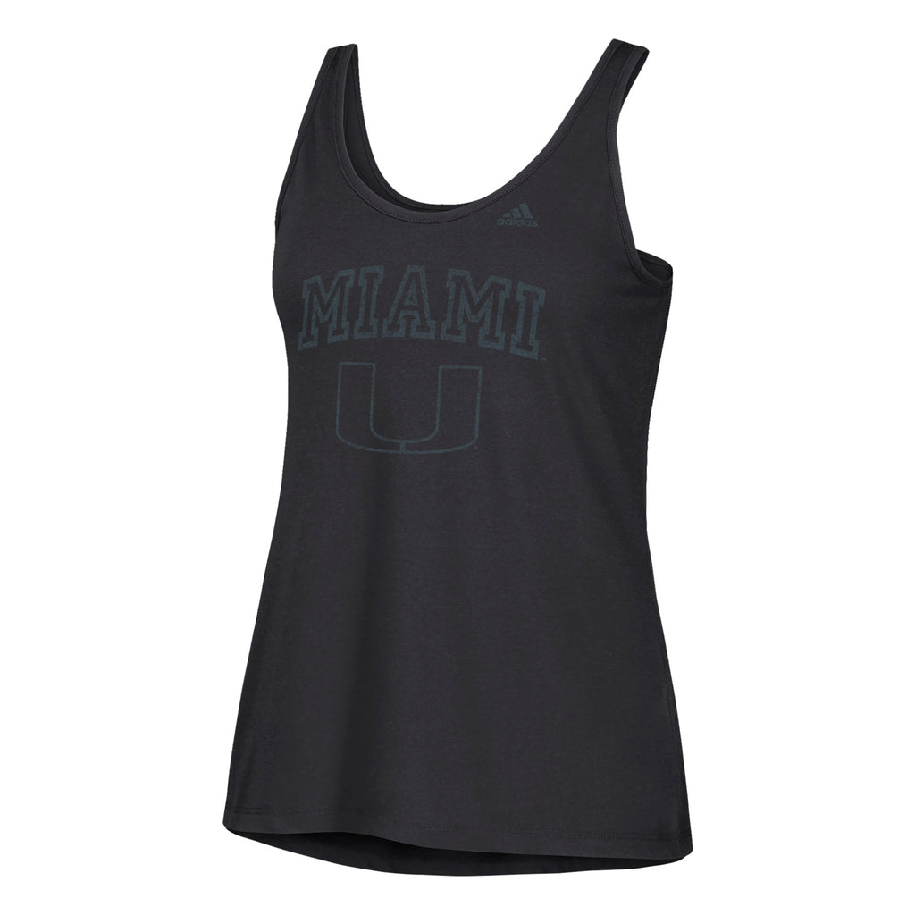 Miami Hurricanes adidas 2018 Women's Faded Arch Tank Top - Black