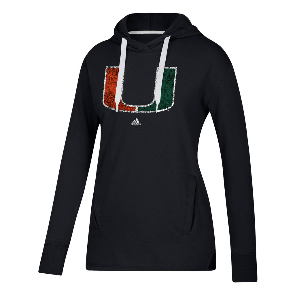 Miami Hurricanes adidas Women's Her Full Color Primary Fleece Hoodie - Black