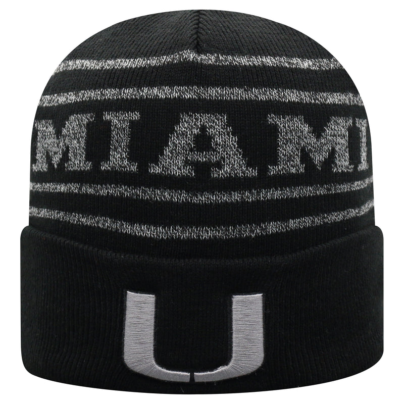 Miami Hurricanes Top of the World Brightnite Cuffed Knit Beanie - Black