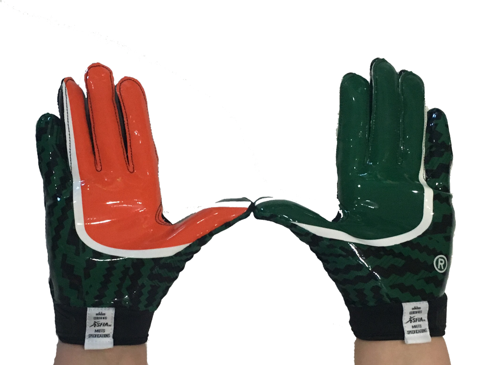 Miami Hurricanes Youth Adizero by Adidas Football Gloves - Black - CanesWear at Miami FanWear Accessories Adidas CanesWear at Miami FanWear