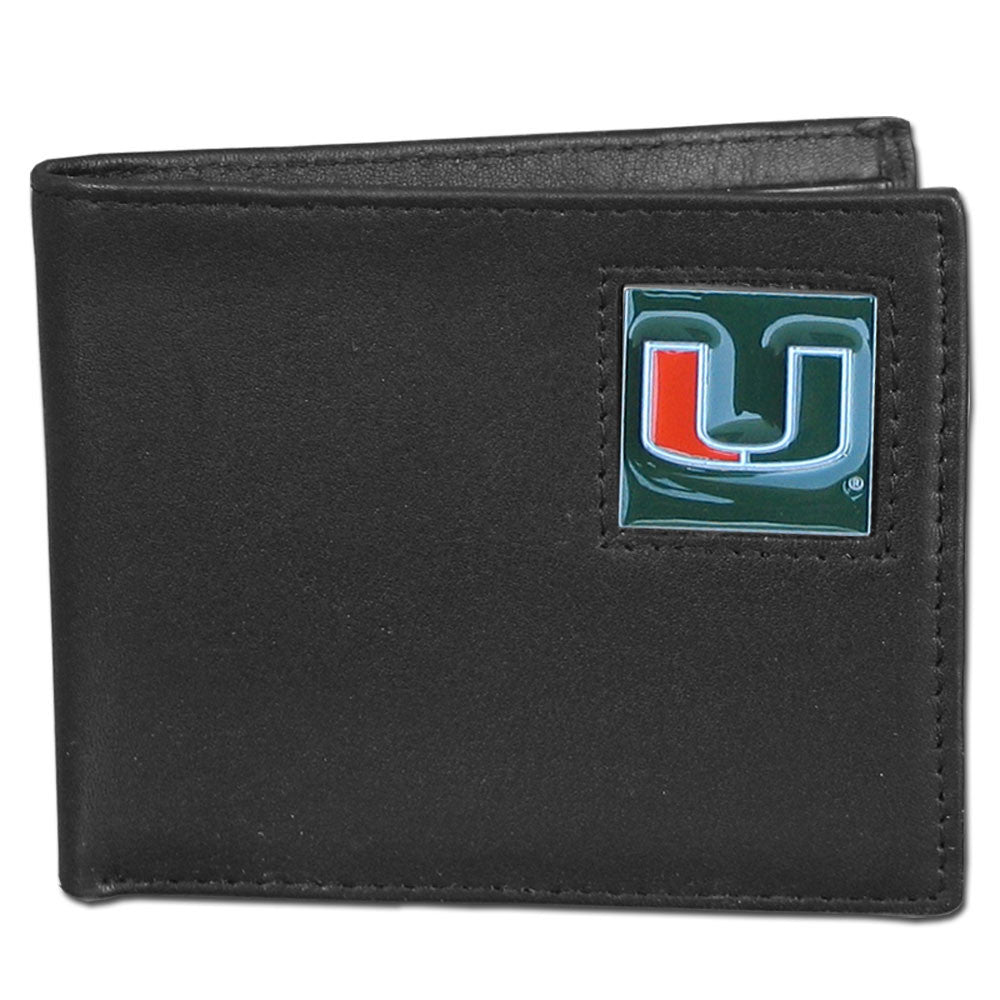 Miami Hurricanes Leather Bi-fold Wallet Packaged in Gift Box - CanesWear at Miami FanWear Accessories Siskiyou CanesWear at Miami FanWear