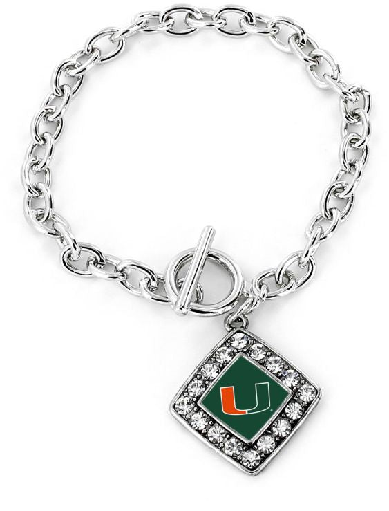 Miami Hurricanes Crystal Diamond Bracelet