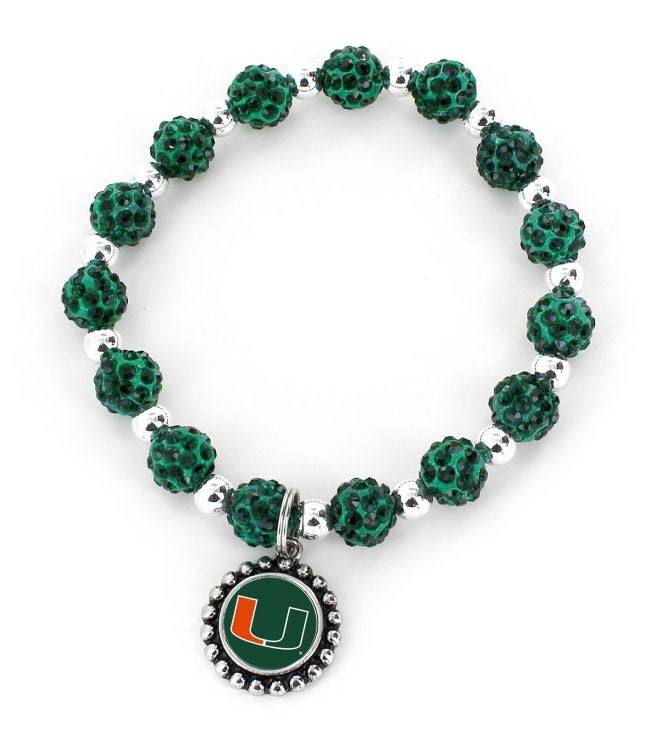 Miami Hurricanes Pebble Bead Strectch Bracelet