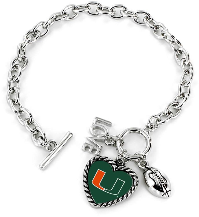 Miami Hurricanes Miami Love Football Bracelet