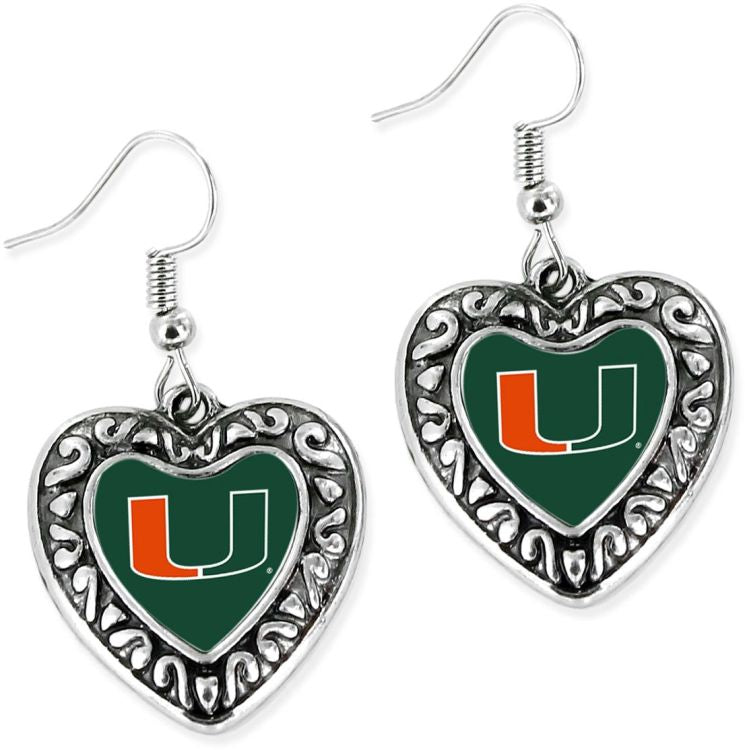 Miami Hurricanes Silver Heart U Earrings - Green