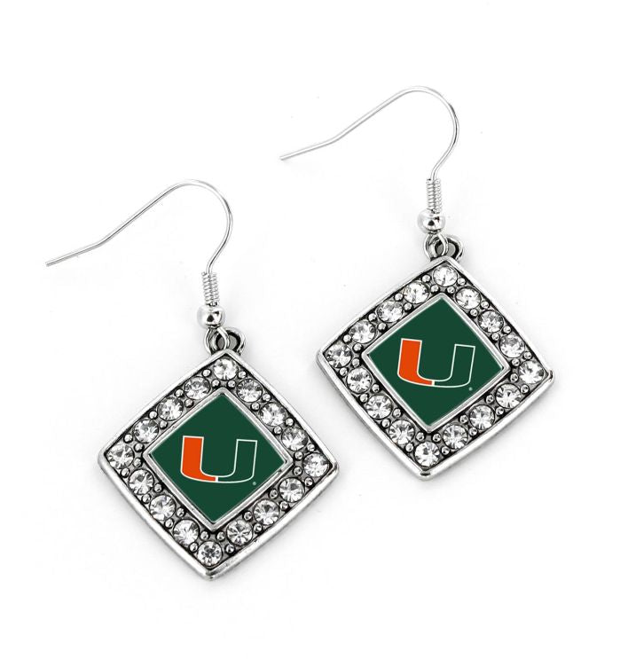 Miami Hurricanes Crystal Diamond Earrings