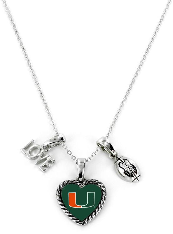 Miami Hurricanes Miami Love Football Necklace
