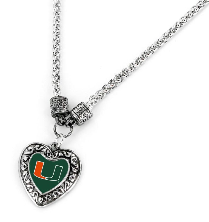 Miami Hurricanes Heart Pendant with U Necklace