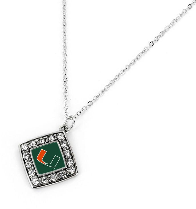 Miami Hurricanes Crystal Diamond Necklace