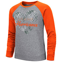 Miami Hurricanes Colosseum Girls Camilla Crew Fleece Sweater