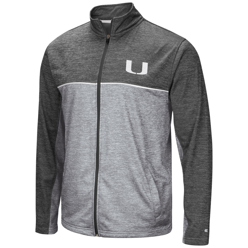Miami Hurricanes Men's Banked Full Zip Fleece - Heather Charcoal