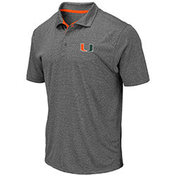 Miami Hurricanes 2019 MEN'S NEWCASTLE POLO - Heather Charcoal