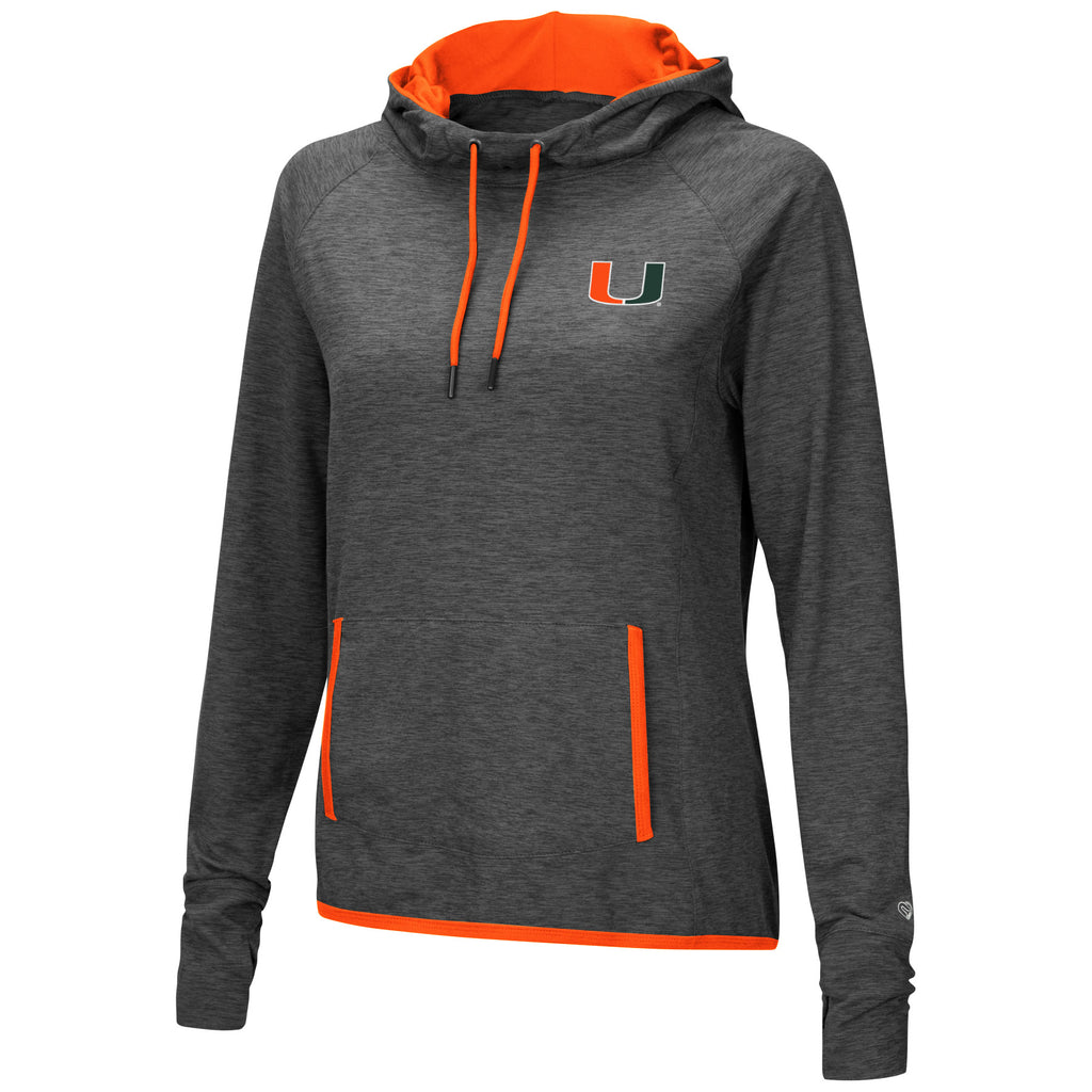 Miami Hurricanes Women's Corkscrew Cowl Neck Hoodie Shirt - Heather Charcoal