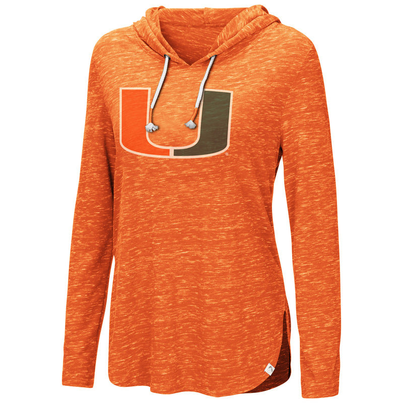 Miami Hurricanes Women's Swizzle Side Slit Hooded L/S Shirt