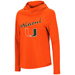Miami Hurricanes Women's Maggie L/S Hooded T-Shirt - Orange