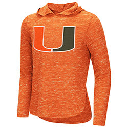 Miami Hurricanes Youth Girl's Swizzle Hooded L/S T-Shirt