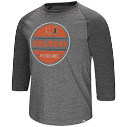 Miami Hurricanes MENS RIDING LAWN MOWER 3/4 RAGLAN TEE