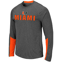 Miami Hurricanes MEN'S BRISBANE L/S TEE - Heather Charcoal