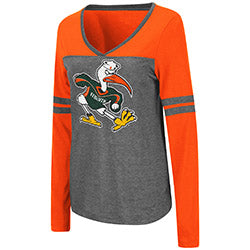 Miami Hurricanes Women's Surely L/S T-Shirt - Orange/Heather Grey