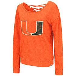 Miami Hurricanes Women's Huzzah 2-Way T-Shirt - Orange