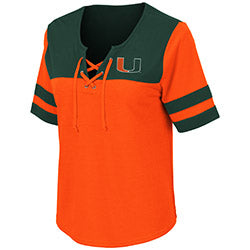 Miami Hurricanes 2019 WOMEN'S NAPLES LACE-UP TEE - ORANGE