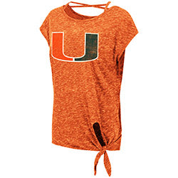 Miami Hurricanes 2019 WOMEN'S COMO TIE FRONT TEE - ORANGE