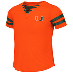 Miami Hurricanes 2019 GIRL'S WELS LACE UP TEE - ORANGE