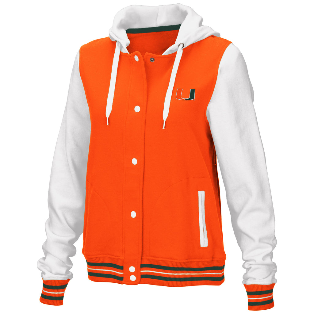 Miami Hurricanes Women's Halfpipe Varsity Hooded Jacket