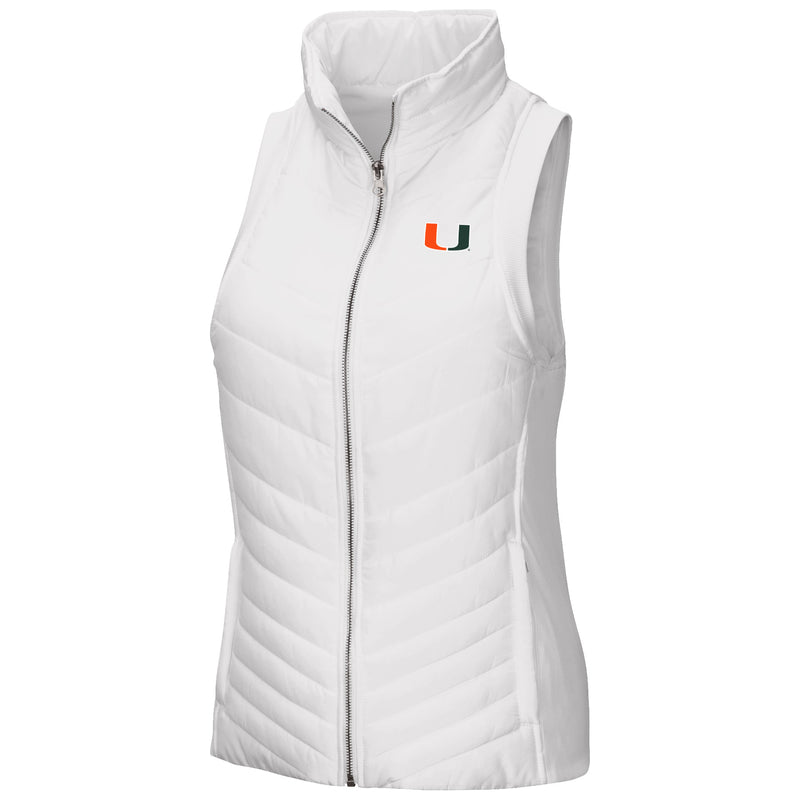 Miami Hurricanes Women's Sleeveless Chair Lift Chevron Quilted Zippered Vest - White