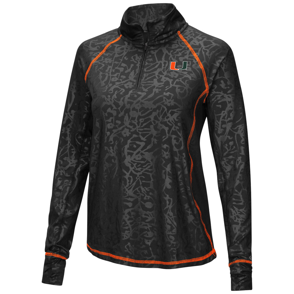 Miami Hurricanes Women's Free Riding 1/4 Zip Pullover L/S Shirt - Black