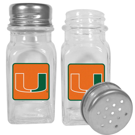 Miami Hurricanes Glass Salt and Pepper Shaker Set