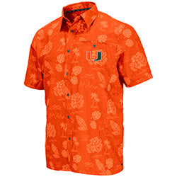 Miami Hurricanes 2019 MEN'S HONOLULU CAMP SHIRT - ORANGE