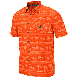 Miami Hurricanes 2019 MEN'S HILO CAMP SHIRT - ORANGE