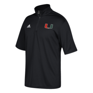 MIami Hurricanes Coaches 1/4 Zip S/S Pullover Shirt - Black