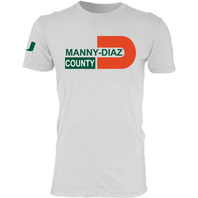 Miami Hurricanes Manny Diaz County T-Shirt - White
