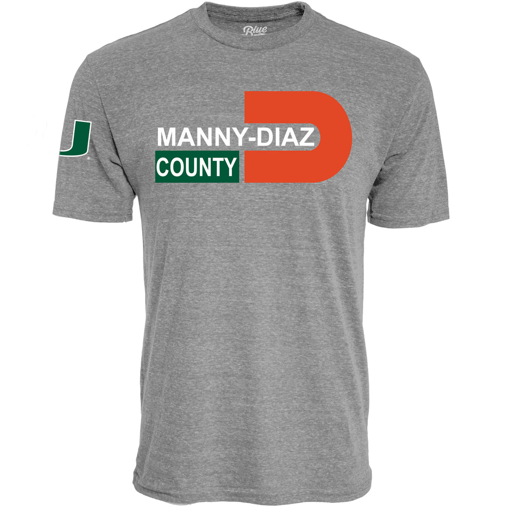 Miami Hurricanes Manny Diaz County T-Shirt- Heather Grey