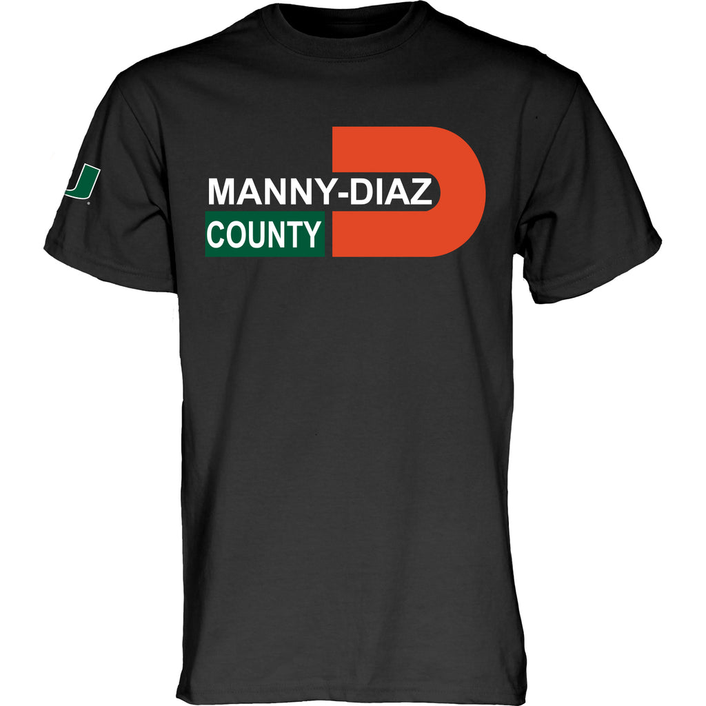 Miami Hurricanes Manny Diaz County T-Shirt - Heather Black