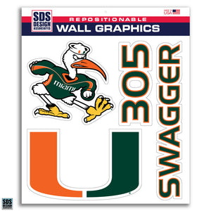 "Miami Hurricanes 3-Pack 12"" Wall Graphics - CanesWear at Miami FanWear Decals & Stickers SDS Design Associates CanesWear at Miami FanWear"