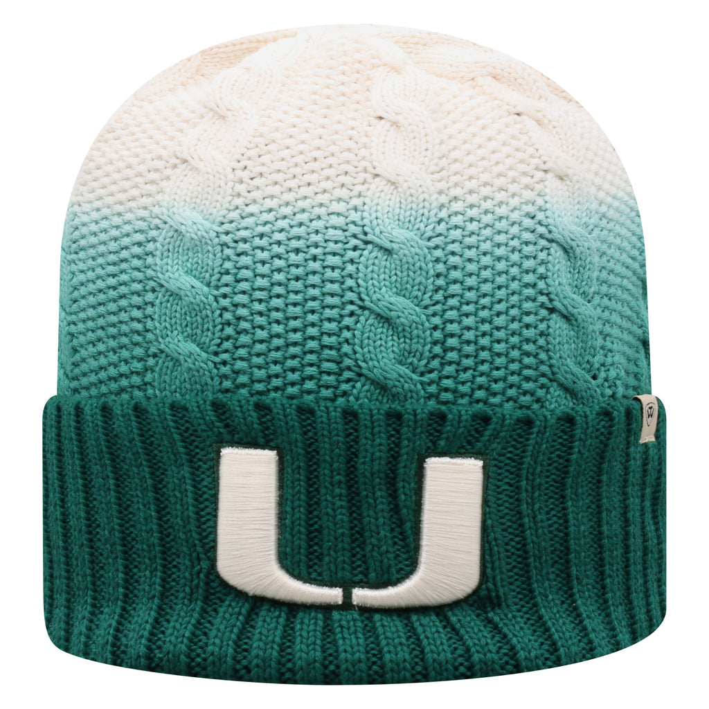 Miami Hurricanes Top of the World Dissolve Cuffed Knit - Green/White