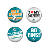 Miami Dolphins Buttons 4 Pack - CanesWear at Miami FanWear general Wincraft CanesWear at Miami FanWear
