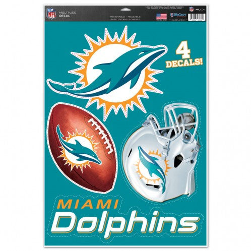 Miami Dolphins Multi Use Decal Set 11x17 - CanesWear at Miami FanWear Decals Wincraft CanesWear at Miami FanWear