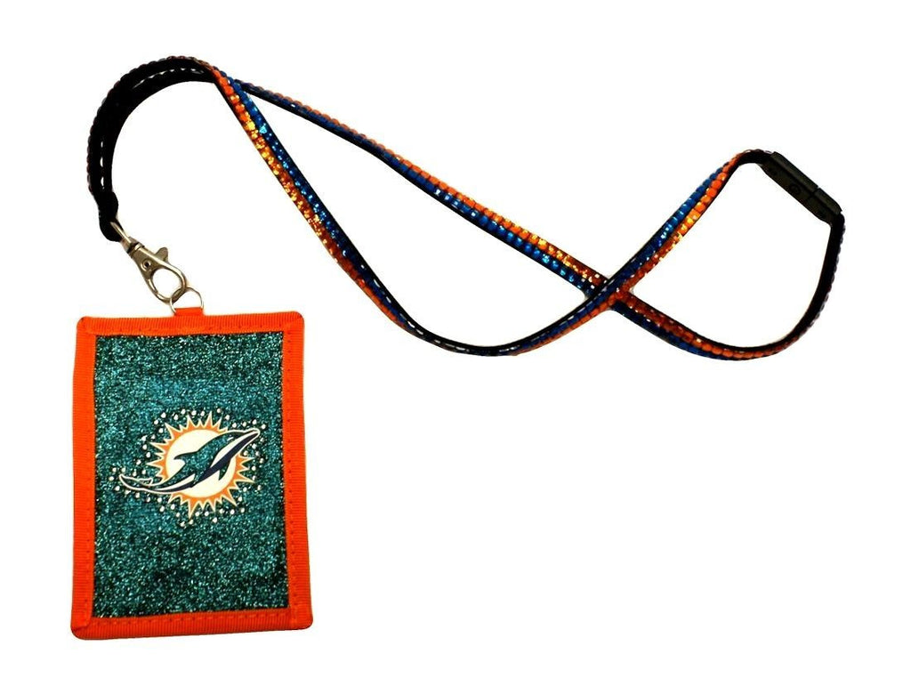 Miami Dolphins Beaded Lanyard Wallet - CanesWear at Miami FanWear Bags & Accessories Miami Dolphins CanesWear at Miami FanWear
