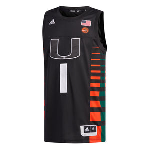 Miami Hurricanes adidas 2019 Authentic Basketball Jersey - Black